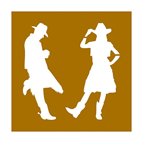(Auto Vynamics - STENCIL-COWBOY-COWGIRL - Cowboy & Cowgirl Silhouettes Individual Stencil from Detailed Cowboy & Cowgirl / Wild West Stencil Sets! - 10-by-10-inch Sheet - Single)