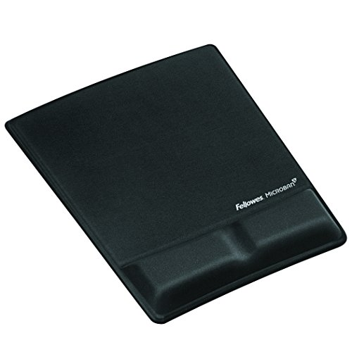 Fellowes Mouse/Wrist Support with Microban Protection, Gel, Black  - Mouse Pad Antimicrobial