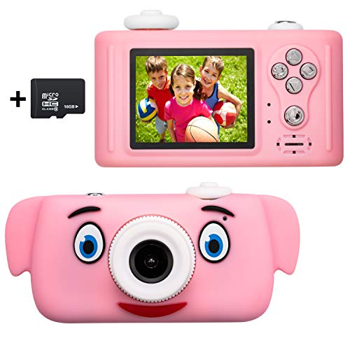 omzer Kids Camera for Girls with Cartoon Pig Cover, 2 Inch LCD Screen 1080P HD Video Compact Toy Cameras, Best Birthday Festival Gifts for 4-9 Year Old Girls Boys, Pink(16GB Memory Card Included)