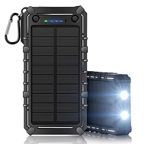 Solar Charger 15000mah Waterproof Portable Power Bank Dual USB Charger 2 LED Flashlight for Cell Phone Tablet Camera GPS Camping Outdoors and Emergency