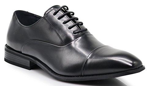 FLR Men's Cap Toe Straight Cap Classic Formal Lace up Oxfords Dress Shoes (8.5, ()