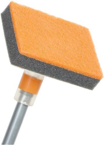 Casabella Flex Neck Tub-n-Tile Scrubber with Extendable Pole - Graphite and Orange