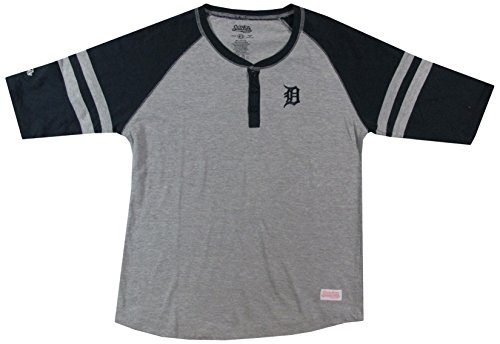 MLB Detroit Tigers Girl's Colorblocked Raglan Buttondown Jersey, Grey, Small