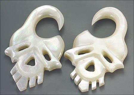 Elementals Organics Mother of Pearl Skull Intricate Hanger Organic Jewelry - 2mm-8mm - Price Per 2-8mm ~ - Organic Hanger Jewelry Intricate