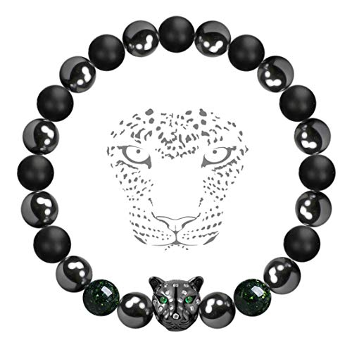 Karseer Black Panther Magnetic Hematite Matte Onyx Natural Stones Beaded Stretch Bracelet Anti Anxiety Healing Energy Crystal Meditation Prayer Beads Bracelet Stress Depression Relief from Karseer