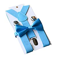 Happyupcity 1 Set Pure Sky Blue Girls and Boys Performing Tie Suspender Suit Adjustable Y-Band Sling Strap Clips Pre-Tied Bow Tie Suspender Hanging Trouser Skirts Clamp Kit for 1-10 Years Old Kids