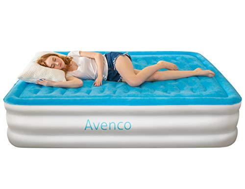 Avenco Queen Air Mattress with Car Home-Powered Built-in Pump Elevated Raised Inflatable Airbed with Quilt Top, Inflated Height 18inch Upgraded Version , 1-Year Guarantee, for Guest and Camping