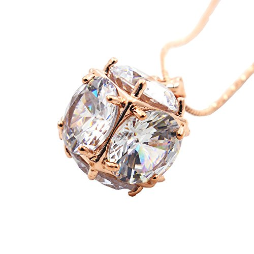 N.egret Golden Cube Crystal Necklaces Pendants Women Fashion Jewelry Gift for Girl Teen Friend Birthday