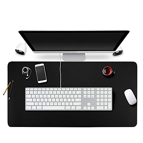 Desk Pad Protecter 28'' x 16'', PU Leather Desk Mat Blotters Mouse Pad Organizer with Comfortable Writing Surface(Black) by Kissloves