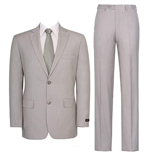 Mens Classic Single - P&L Men's Two-Piece Classic Fit Single Breasted Suit Blazer Tux & Flat Front Trousers Sand