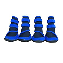 Jocestyle Waterproof Dog Shoes Rain Snow Boots Shoes Booties With Anti-slip Sole (XL-3.85X3.03 inch, Blue)