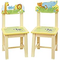 Guidecraft Wood Hand-painted Savanna Smiles Extra Chairs (Set of 2) G86803