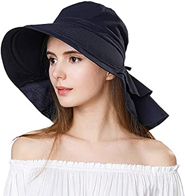 Cotton Sun Hat Neck Cover Cord Women SIGGI Summer Bill Flap Cap UPF 50
