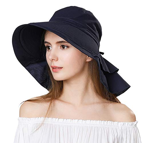 Siggi Womens Summer Bill Flap Golf Cap UV 50 Cotton Sun Hat with Neck Cover Cord Crushable Large Brim Black