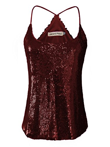 Femme Camisole Tank Anna Top Spaghetti Vest kaci Sparkly Bourgogne Fines Bretelles Brillant Paillette qgO015