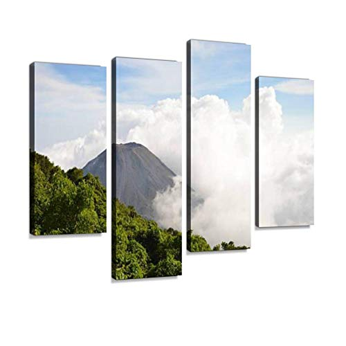 The Peak of The Active Izalco Volcano in El Salvador Canvas Wall Art Hanging Paintings Modern Artwork Abstract Picture Prints Home Decoration Gift Unique Designed Framed 4 Panel
