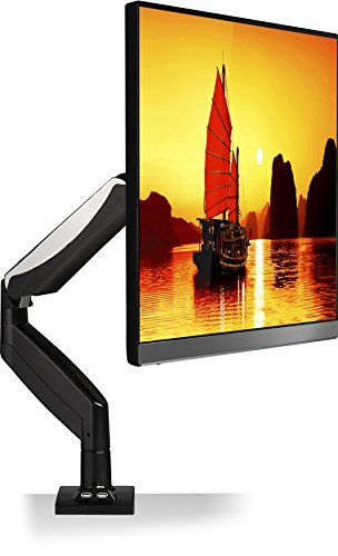 Monitor Desk Mount for 22 to 32-inch LCD LED Computer Monitors up to 17.6 lbs with 2 USB Hubs Black