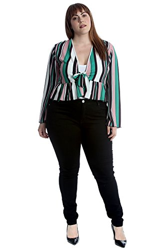 Nouvelle Collection Stripes Print Frill Shrug Teal 26-28 by Nouvelle Collection (Image #2)