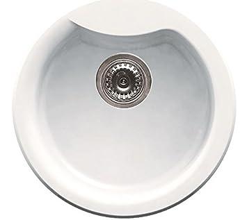 Elleci Ego Round Vitrotek 3G White Waschbecken Runde Spüle Granit ... | {Spülbecken granit rund 42}