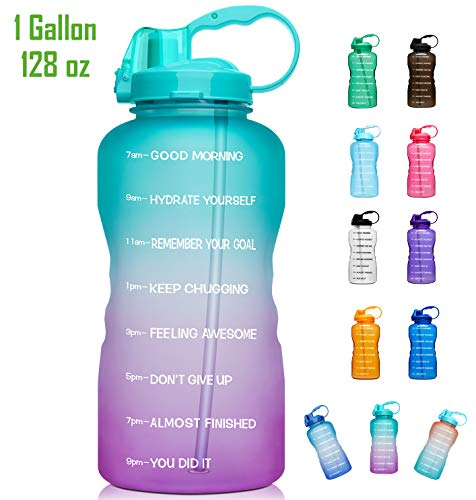 Giotto Large 1 Gallon/128oz Motivational Water Bottle with Time Marker & Straw, Leakproof Tritan BPA Free, Ensure You Drink Enough Water Daily for Fitness, Gym and Outdoor Sports-Green/Pink Gradient