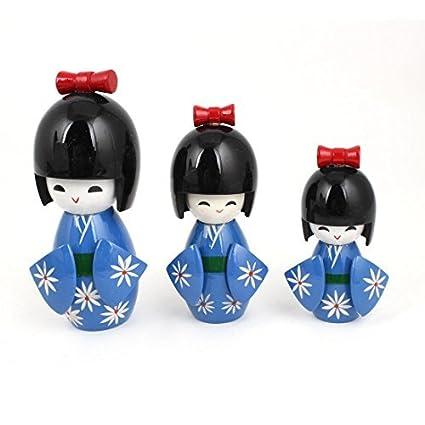 eDealMax de Madera Regalo del Estampado de Flores sonriente de la muchacha del Kimono japonés de