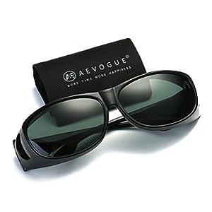 AEVOGUE Polarized Sunglasses Mens Over-The-Glass Unisex Prescription Safety Glasses AE0509 (Black&Green, 65)