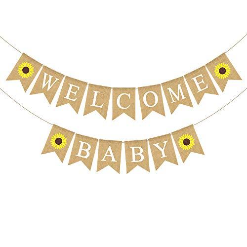 Sunflower Baby Shower - Rainlemon Jute Burlap Welcome Baby Banner