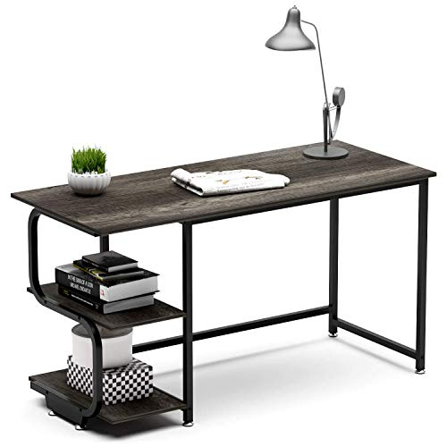Teraves Reversible Computer Desk for Small Spaces with Shelves,Gaming Desk Office Desk for Home Office