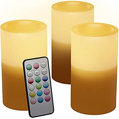 Flameless Candles With Timer and Remote Perfect For Holiday Decoration - Real Looking Flickering LED Candles Battery Operated Set of 3 Same Size Candles Scented - Option Of 12 Different Colors