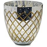 Elements Mercury Glass Etched Tealight Holder, 9-Inch