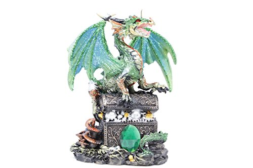 (Fierce Green Dragon Guarding its Sacred Treasure With a Emerald Embedded in the chest 6 Inches high 71353)