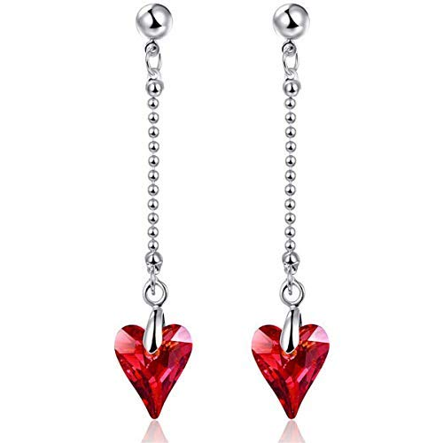 - BONLAVIE Heart Earrings Hypoallergenic Dangle Drop Earrings Austrian Crystal Valentine's Day Gift Packing for Women