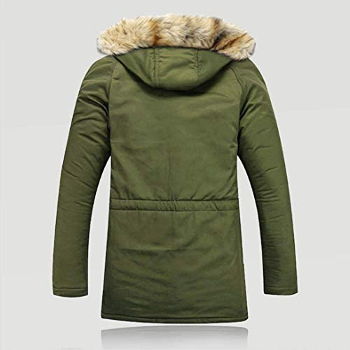 Coat Wool Unisex Outdoor Winter Jacket Warm HAINE Jackets Fur Hood Coats Long Men Green Women wR4Cxq7Y