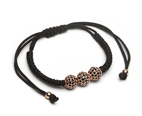 ZENGER Braided CZ Disco Balls Macrame Bracelet (Rose gold)