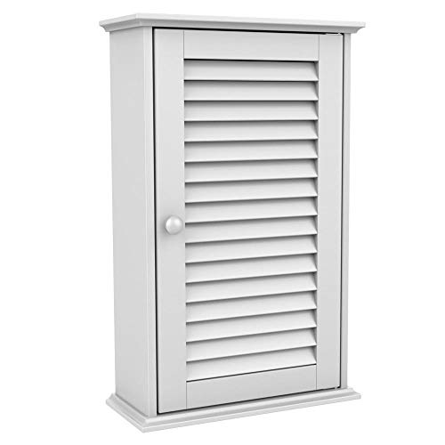 (go2buy White Wood Bathroom Wall Mount Cabinet Toilet Medicine Storage Organizer Single Door with Adjustable Shelves)