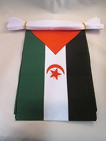 AZ FLAG Guirnalda 6 Metros 20 Banderas de Sahara Occidental 21x15cm - Bandera REPÚBLICA ÁRABE SAHARAUI DEMOCRÁTICA 15 x 21 cm - BANDERINES: Amazon.es: Jardín