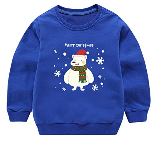 Girls Blue Pullovers Autumn Cotton Soft Sweatshirt Cute Christmas Sweater Snowflake and Bear Pattern 5-6T