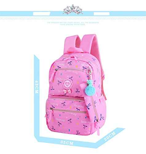 Adanina 3Pcs Cute Bowknot Elementary Girls School Backpack Heart Prints Primary School Bookbag
