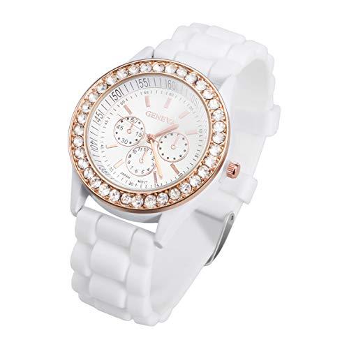 OFTEN Ladies Women Girl Silicone Quartz Crystal Stone Jelly Wrist Watch (White Geneva Watches For Men)