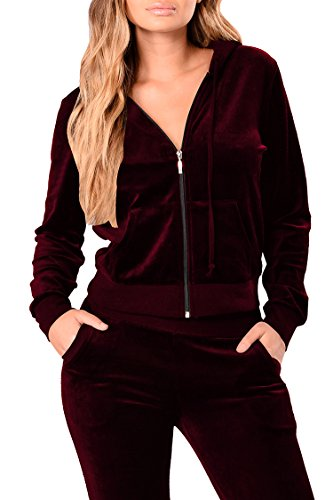 (Linsery Women's Winter Velour Zipper Hooded Jacket Jogger Pants 2 Piece Sweatsuit L Wine)