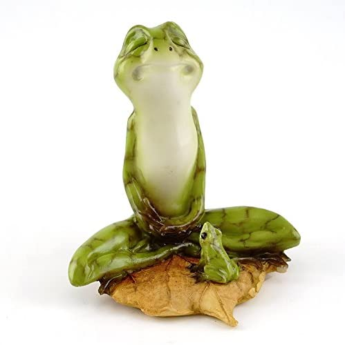 Top Collection Miniature Fairy Garden Terrarium Yoga Frog in Meditation Lotus Pose, Small