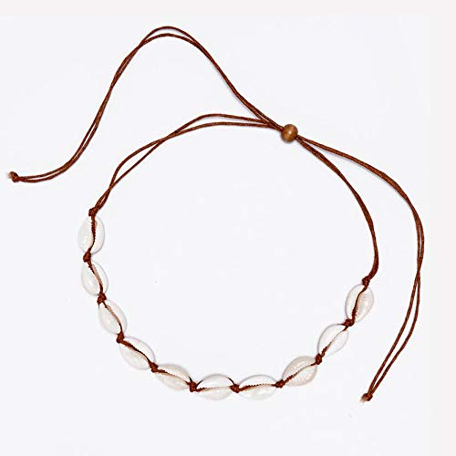 Canboer Brown Rope Natural Shell Beads Beach Choker Necklace Handmade Hawaii Jewelry for Girls Women Ladies
