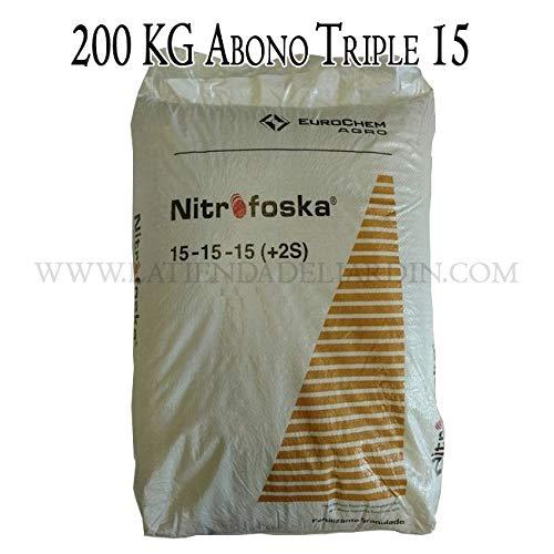 Suinga ABONO Fertilizante Nitrofoska Triple 15, 200 KG en Sacos de 25 Kg. Adaptado para Cubrir la mayoría de Necesidades en Todos los Cultivos. 15% Nitrógeno, 15% Fósforo, 15% Potasio, 5% Azufre