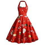 Iusun Women's Christmas Vintage 1950s Flare Dress A-line Halter Retro Elk Snow Doll Print Sleeveless Party Hepburn Skirt
