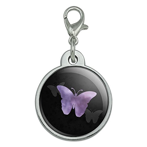 (Graphics and More Purple Butterfly Watercolor Silhouette Chrome Plated Metal Pet Dog Cat ID Tag - Small)