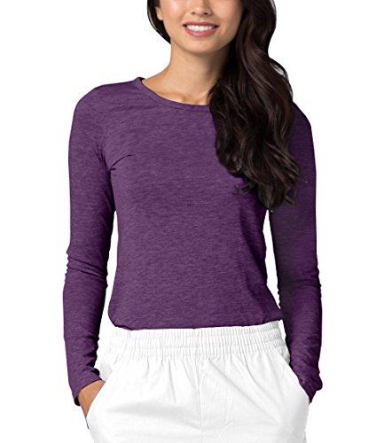 Adar Womens Comfort Long Sleeve T-Shirt Underscrub Tee - 2900 - Heather Eggplant - S