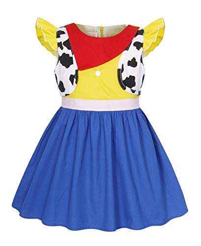 Jurebecia Little Girls Jessie Dress Halloween Costume Outfit Toddler Cowgirl Fancy Dress Up Preschool Role Play Holiday Birthday Party Dresses Red Size 6