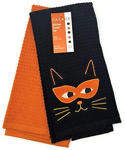 Casaba Fall Halloween Masked Cat Face & Whiskers Festive Kitchen Towel -