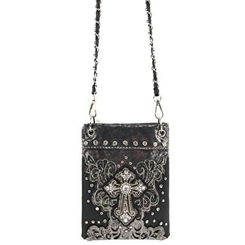 Messenger Strap Cross Long Bag West Purse Only Floral Cross Bling Pouch with Black Body Gleam Justin Rhinestone YAROI