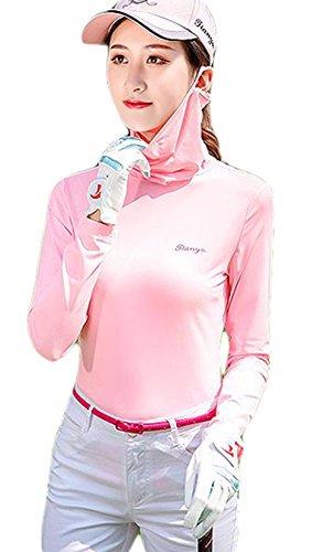 BeiBang(バイバン) レディース ゴルフ 吸汗速乾 長袖シャツ 薄手 夏 UVカット トップス スポーツウェア 白 ピンク